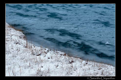 Icy shoreline at Abraham Lake, Bighorn Wildland, Alberta, Canada
