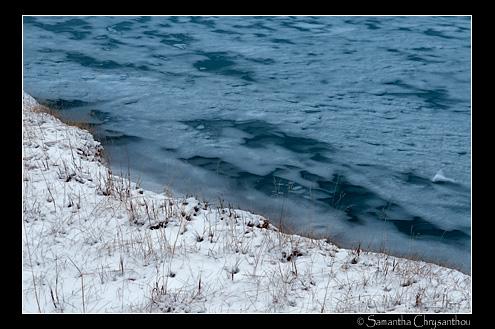Icy shoreline at Abraham Lake, Bighorn Wildland, Alberta, Canada